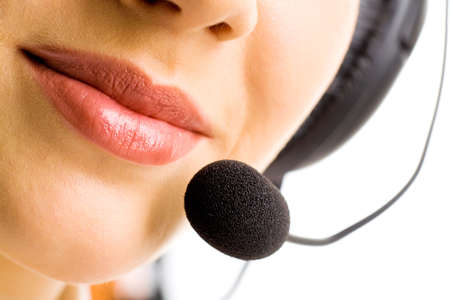 Close-up of business woman's lips with microphone Stock Photo - 2529524