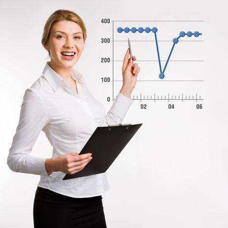 Portrait of confident  businesswoman doing a presentation photo