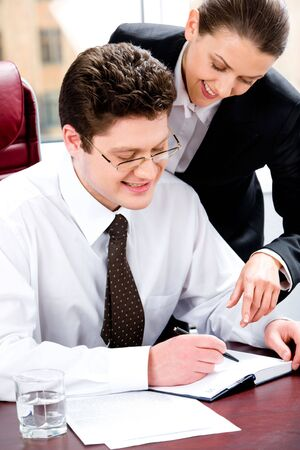 Portrait of two business people planning a schedule of works Stock Photo - 2553697
