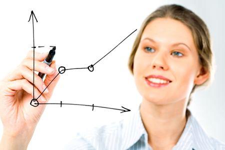 dataflow: El �xito de mujer de negocios que muestra el crecimiento de beneficios sobre las ventas en una pizarra