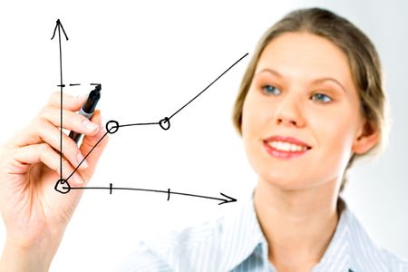 dataflow: Successful business woman showing growth of profit on sales on a whiteboard