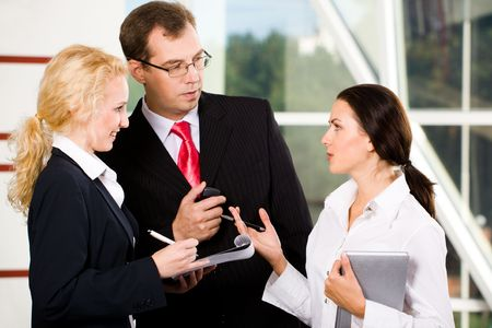 Portrait of three business communicate each other at meeting Stock Photo - 2641017