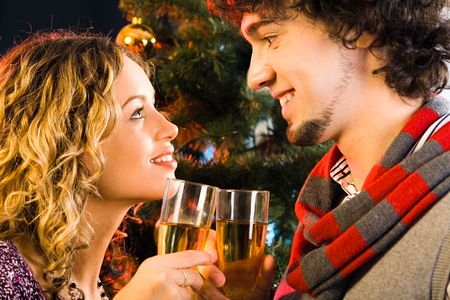 Portrait of sweet couple gazing at each other Stock Photo - 2644793