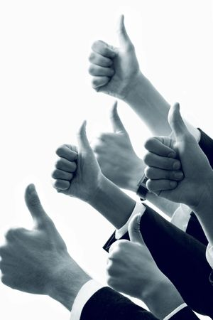 team victory: Row of  human hands showing sign of okay Stock Photo