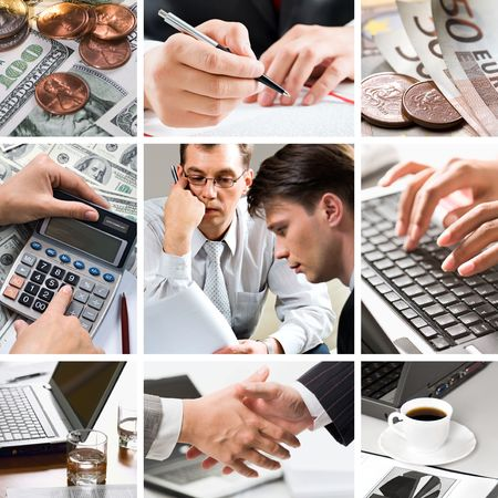 Creative business themed collage: money, human hands, people and technology photo