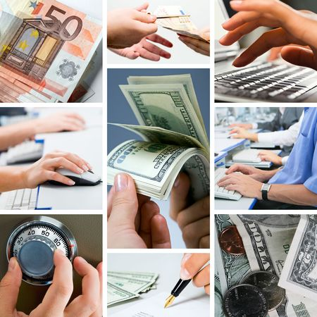 Conceptual image - grid of business photos: white collars' money photo