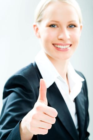 Portrait of happy specialist showing sign of okay on a white background  Stock Photo - 2683336