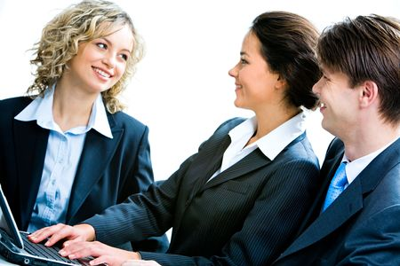 Portrait of business people looking at woman at interview Stock Photo - 2683971