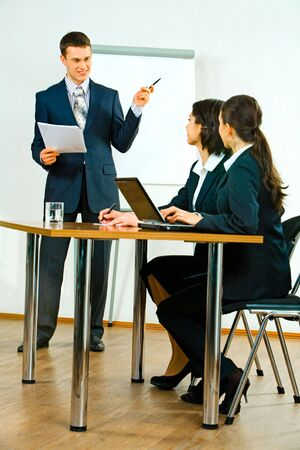 Image of confident business man talking about marketing to women Stock Photo - 2733064