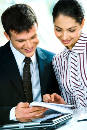 Portrait of business man and woman working together Stock Photo - 2738386