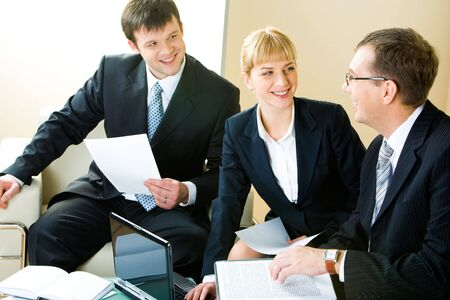 negotiations: Business man and woman looking at boss of company during   negotiations
