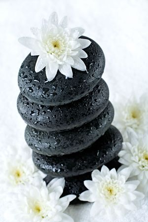 Photo of white flower lying on the top of pile of stones   photo
