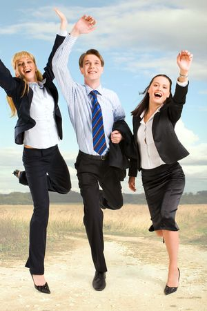Portrait of happy business people standing on the road  Stock Photo - 2885035