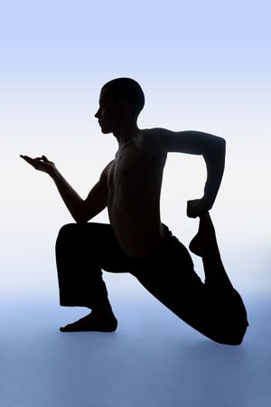 Portrait of immovable man doing yoga exercise photo