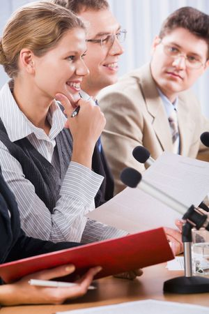 Photo of business people sitting at the table in the conference room Stock Photo - 2913303