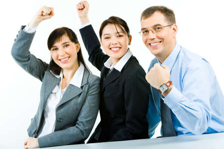 strong arm: Conceptual photo of business team holding their fists up meaning power of work in a union