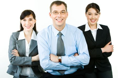 folding camera: Portrait of successful business partners folding their arms and looking at camera with happy smiles Stock Photo