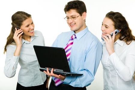 Photo of two women calling by phone with business man between them  photo