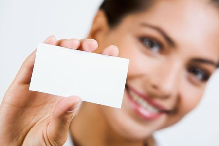 Close-up of  professional�s white business card   photo