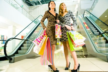 Portrait of two girls standing in the mall after doing shopping photo