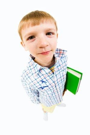 Portrait of boy holding the toy on a white background   photo