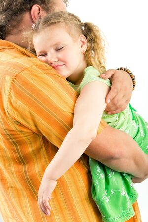 cradling: Vertical image of little girl sleeping on her fatherÂ's hands