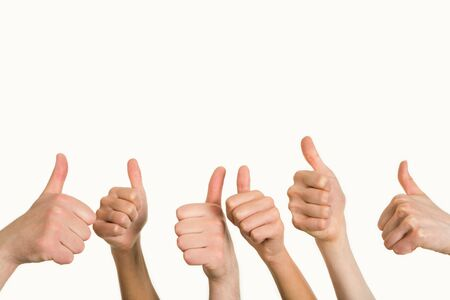Line of group of human fists giving thumb up Stock Photo - 3143254