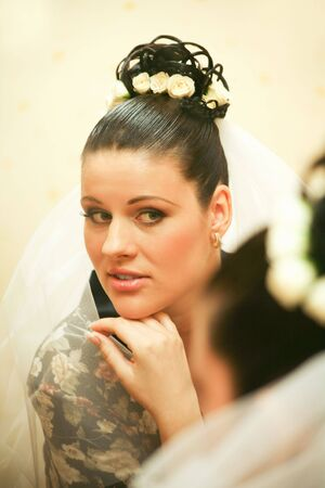 Portrait of bride wearing veil before wedding ceremony touching her chin with hand Stock Photo - 3159440