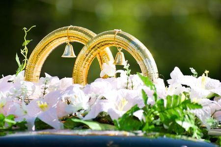 fiance: Close-up of big  golden rings with bells by white flowers on  roof