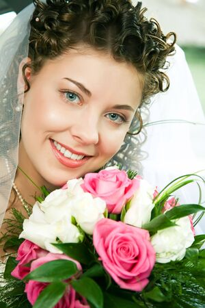 Portrait of pretty young bride looking at camera with smile Stock Photo - 3159459
