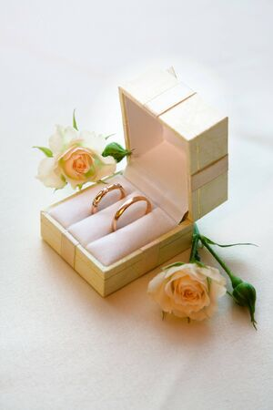 Photo of golden wedding rings before ceremony photo