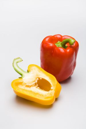 Photo of red and yellow peppers isolated on a white background  photo