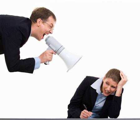 and authority: Retrato de hombre de negocios autoridad gritando a su colega