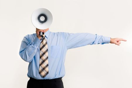 Photo of man shouting into loud speaker and pointing aside by his hand Stock Photo - 3315819