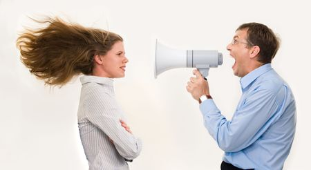 loudly: Image of strict boss shouting at businesswoman through loudspeaker so loudly that her hair being blown by strong wind