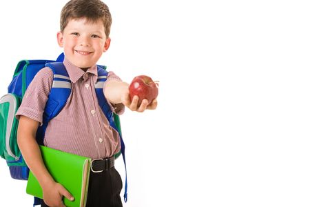Portrait of clever schoolchild isolated on a white background  photo