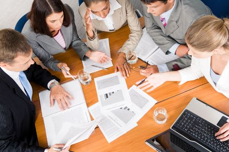 project planning: Portrait of businesspeople planning project it meeting