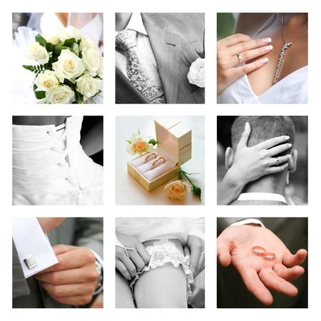 Creative collage composed of nine wedding moments  Stock Photo