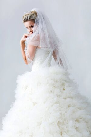 fiancee: Portrait of beautiful timid fiancee in white nuptial dress