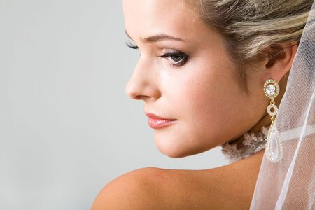 marriageable: Close-up of half face of pensive fiancee with make-up Stock Photo