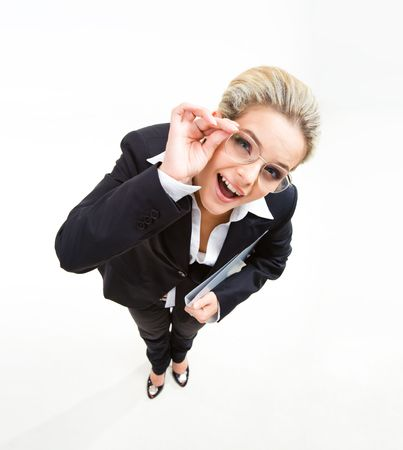 Portrait of funny businesswoman touching glasses  photo