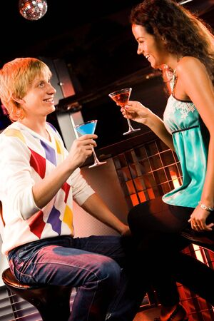 Portrait of attractive couple chatting at meeting in the bar  Stock Photo - 3545341