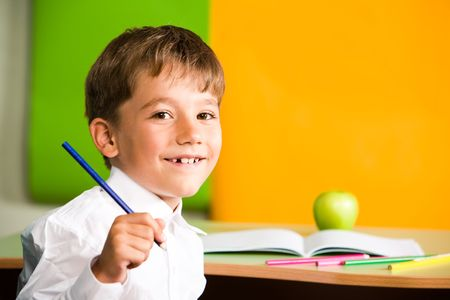 schoolkid: Portrait of handsome schoolboy holding pencil in hand and looking at camera
