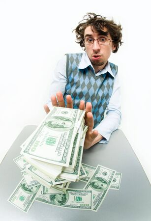 rejecting: Portrait of strange man refusing to take money