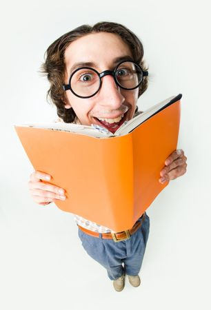 readers: Portrait of smiling male in glasses reading interesting book