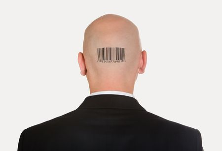 bald head: Rear view of bald head with barcode on its back Stock Photo