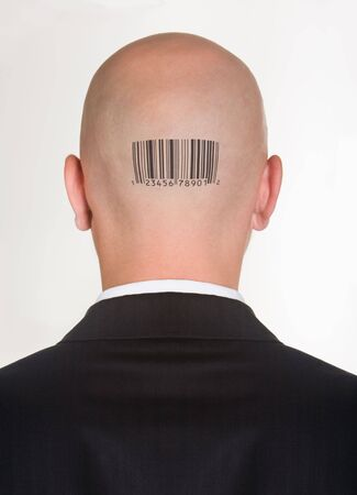 encoded: Male�s back of head with printed barcode on it
