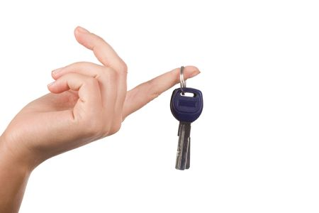 escrow: Close-up of hand with key on forefinger over white background