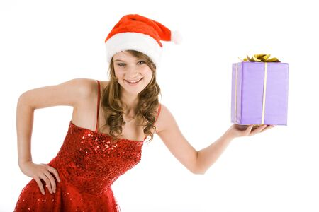 Image of smiling woman with purple box in her hand  photo