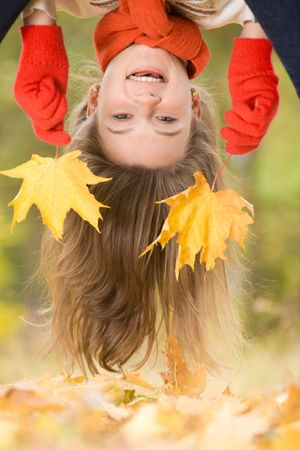 Creative image of funny woman�s head upside down  Stock Photo - 3715856
